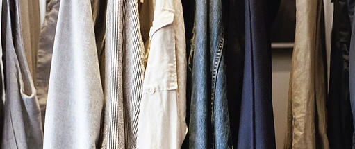 Close up of clothing on the rack