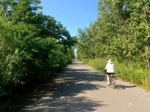 Cycling in Tommy Thompson Park in Toronto