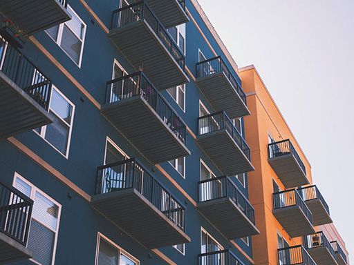 Side of an apartment building with balconies