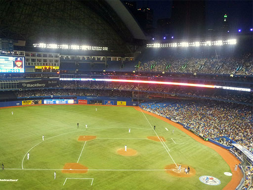 An aerial view of a packed Rogers Centre